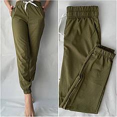 Женские летние штаны, софт №117 хаки в горошек