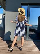 Жіноче плаття з коротким рукавом з рюшем, 00983 (Темно-синій), Розмір 42 (S), фото 2
