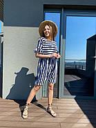 Жіноче плаття з коротким рукавом з рюшем, 00983 (Темно-синій), Розмір 42 (S), фото 3