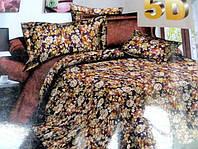 5D Постельное двуспальное белье сатиновое с цветочками