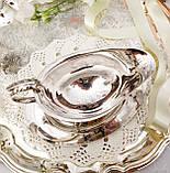 Вінтажний посріблений соусник на ніжках з блюдцем, сріблення, мельхіор, Англія, фото 2