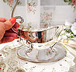 Вінтажний посріблений соусник на ніжках з блюдцем, сріблення, мельхіор, Англія, фото 5
