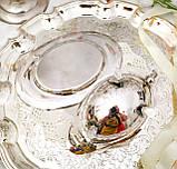 Вінтажний посріблений соусник на ніжках з блюдцем, сріблення, мельхіор, Англія, фото 6