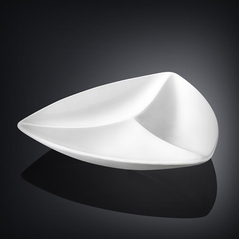 Менажниця Wilmax трикутна довжина 24см фарфор, Менажниця біла з тремья ярусами, Фарфороровая біла менажниця