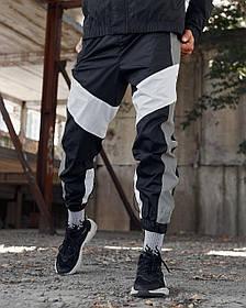 Спортивні штани Гармата Вогонь Split чорно-білі з рефлективом