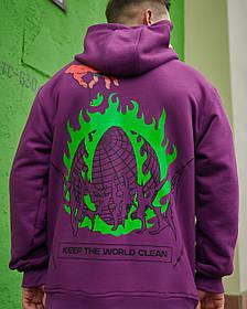 Худі оверсайз Гармата Вогонь Keep Clean фіолетове