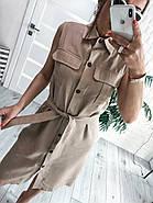 Плаття прямого крою на ґудзиках без рукавів з льону, 00985 (Бежевий), Розмір 42 (S), фото 3