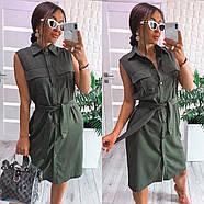 Женское платье на пуговицах без рукавов с поясом из льна, 00986 (Хаки), Рахмер 42 (S), фото 2