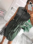 Женское платье на пуговицах без рукавов с поясом из льна, 00986 (Хаки), Рахмер 42 (S), фото 3