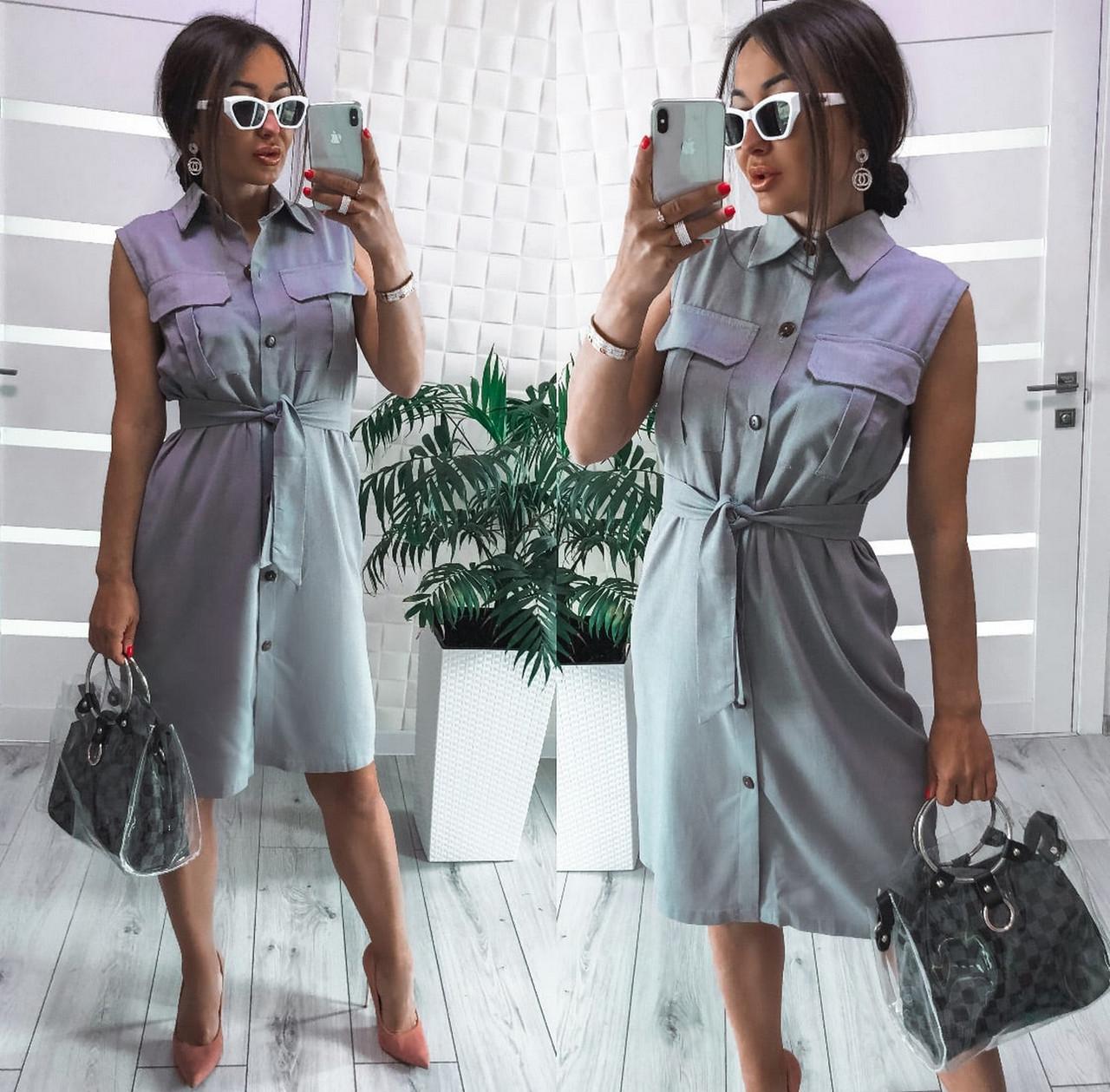 Стильное платье до колен из льна без рукавов на пуговицах и карманами на груди, 00987 (Серый), Размер 42 (S)