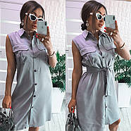 Стильное платье до колен из льна без рукавов на пуговицах и карманами на груди, 00987 (Серый), Размер 42 (S), фото 2