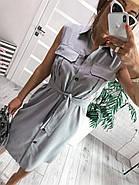 Стильное платье до колен из льна без рукавов на пуговицах и карманами на груди, 00987 (Серый), Размер 42 (S), фото 3