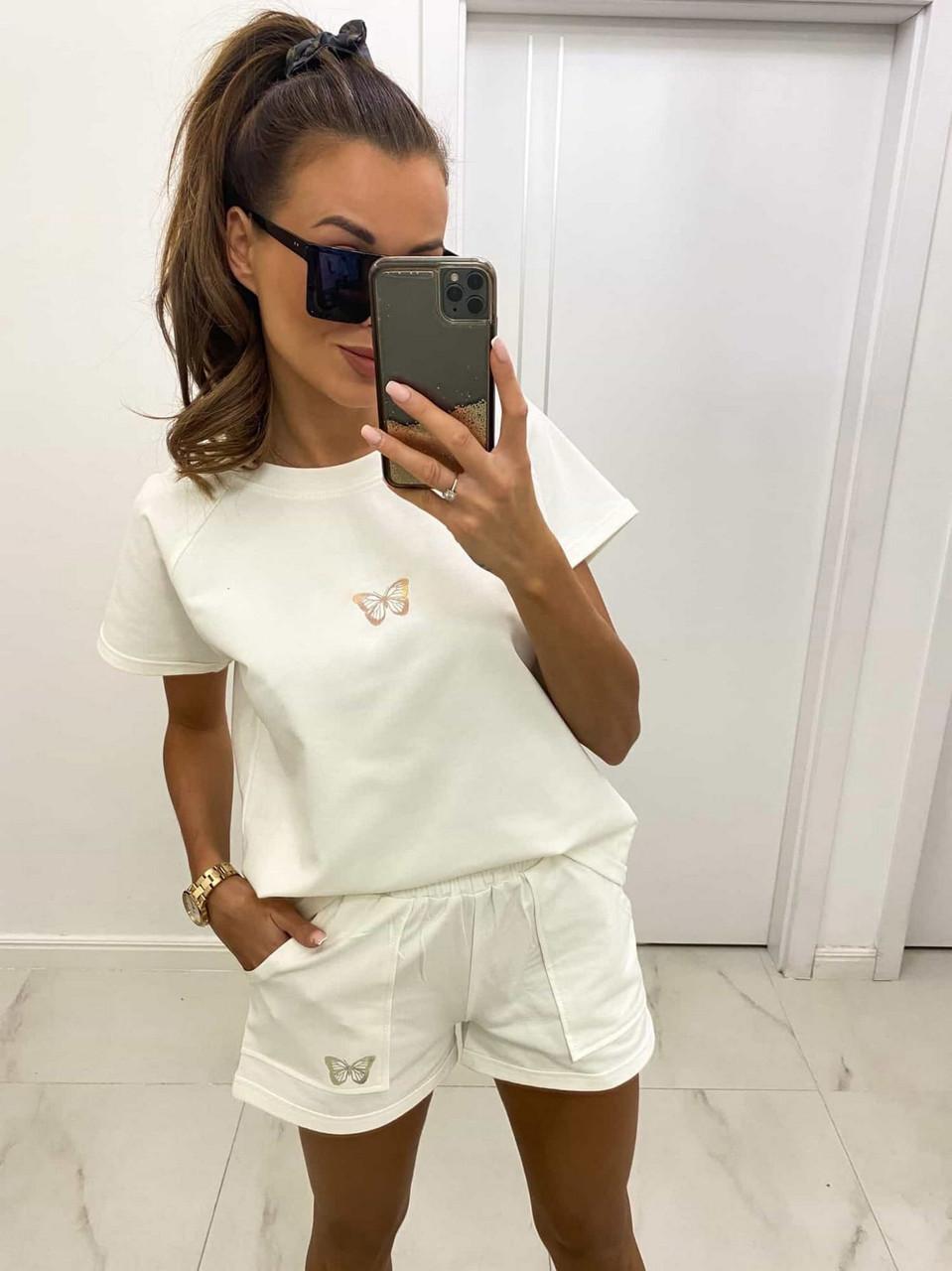 Жіночий костюм двійка (шорти на резинці плюс футболка), 00989 (Молоко), Розмір 42 (S)