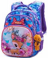 Рюкзак школьный  для девочки 1-4 класса ортопедический 38*29 см Олененок SkyName R3-230