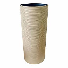 Напольное круглое высокое кашпо Лилия 250 Долото КАПУЧИНО