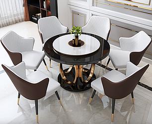 Мраморный стол круглый с индукционной плитой. Модель RD-1033