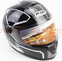 Шлем закрытый HF-112  ЧЕРНЫЙ глянец с бело-серым рисунком