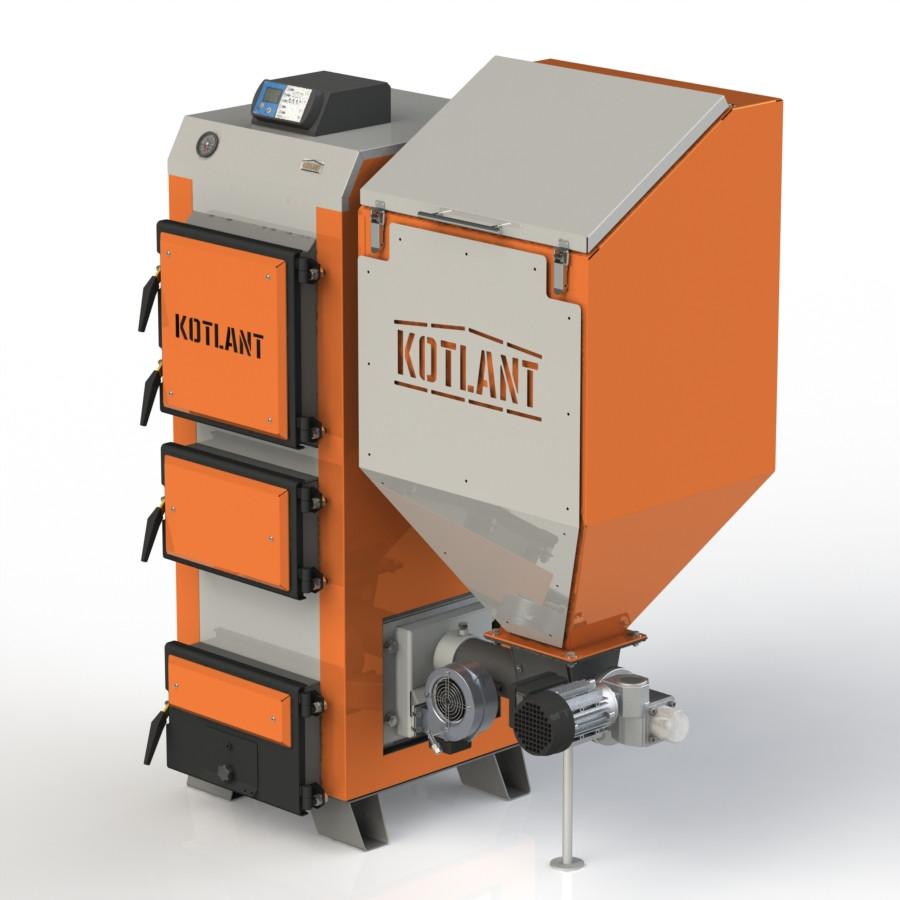 Твердотопливный котел KOTLANT КГП-50 с электронной автоматикой и вентилятором