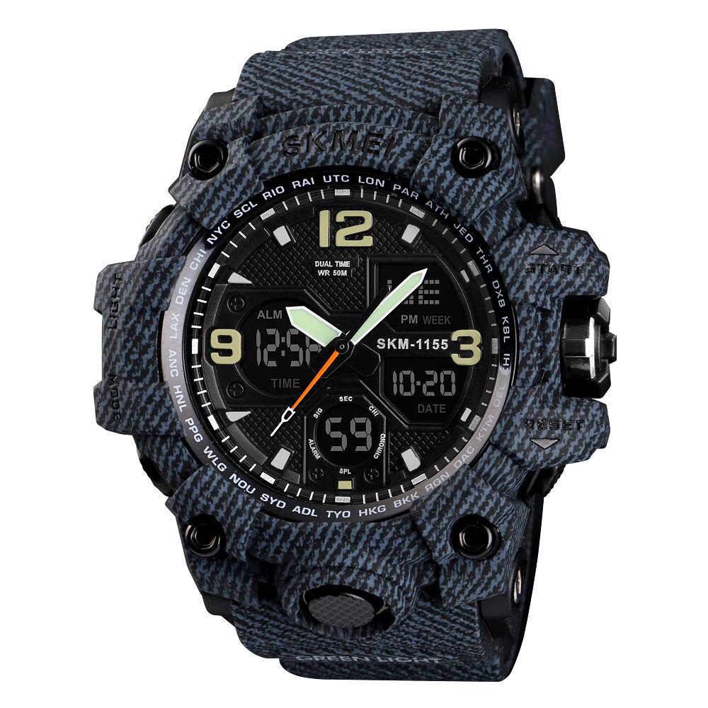Skmei 1155 B (2) hamlet темний джинс чоловічі спортивні годинник