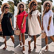 Сукня жіноча завдовжки до колін з рюшами на рукавах, 00997 (Бежевий), Розмір 42 (S), фото 3