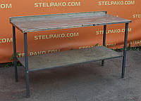 Стол с полкой на металл. основе 140х60х85 см., (Украина), столешня из н/ж, Б/у