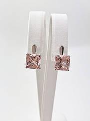 Серьги серебряные с морганитом Т3790/м