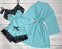 М'ятний халат, піжама з мереживом Комплект-трійка річної домашнього одягу.