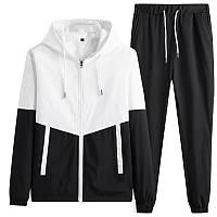 Комплект мужской демисезонный Ветровка + Штаны Boss черно-белый | Спортивный костюм мужской весенний осенний