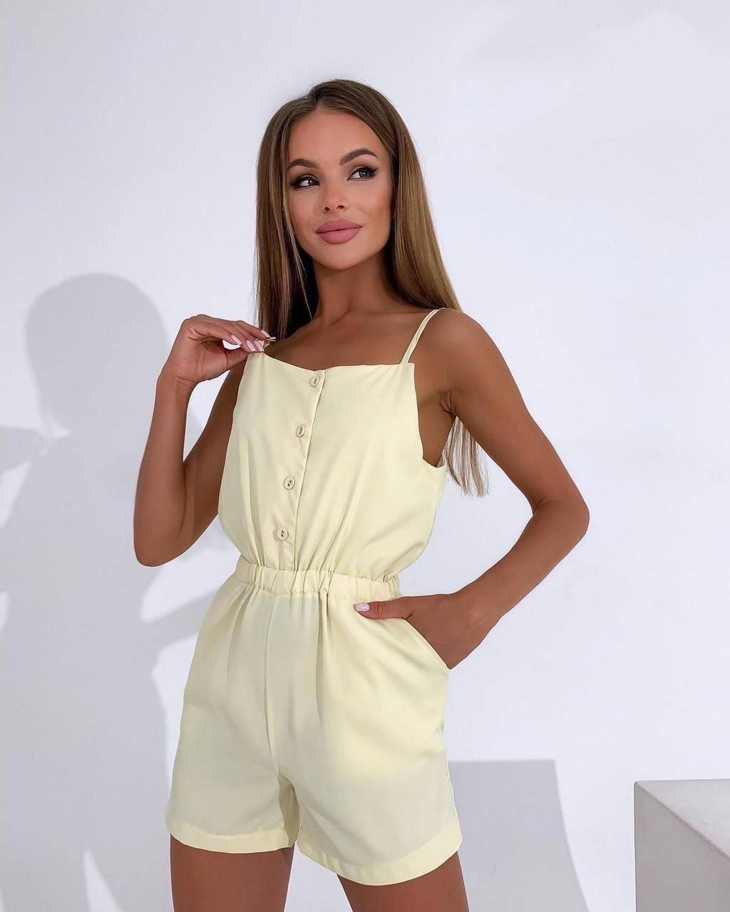 Легкий комбінезон жіночий з софт, шортами на резинці, 01002 (Жовтий), Розмір 42 (S)