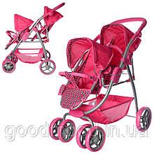 Візок 9662D для ляльки, двомісний, колеса 6 шт., корзина, кор., 60-38-17 см.