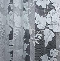 """Остаток (3,8х2,7м.) ткани с рулона, жаккард """"Премиум"""" с галстуком. Цвет белый с вышивкой. Код 642ту 00-562"""
