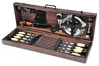Подарочный набор шампуров Мясник шампуры с тарелками и приборами в деревянном чехле (Шампур для шашлыка)