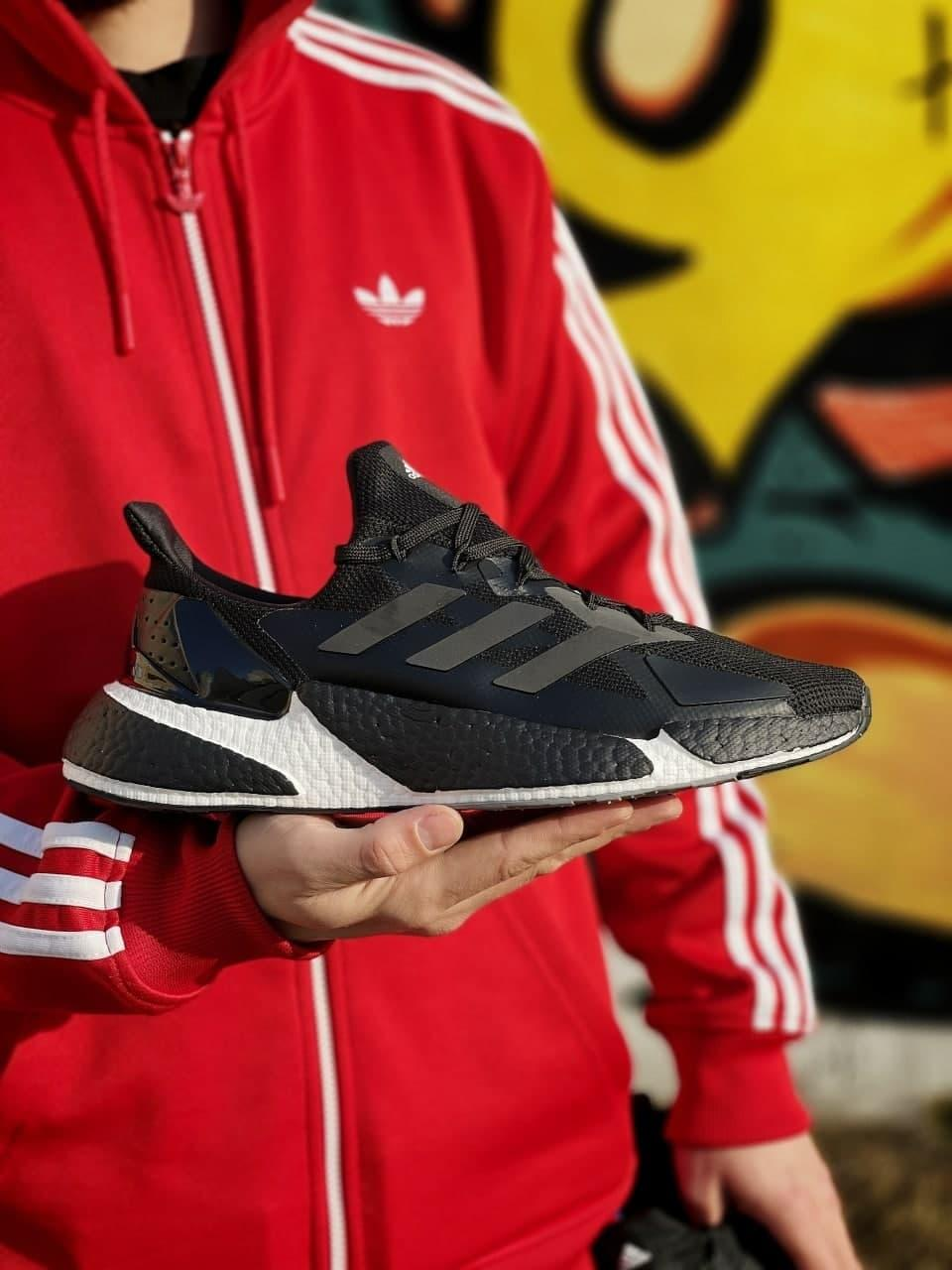 Мужские кроссовки Аdidas X9000L4 (черные с белым) спортивная крутая обувь J3206