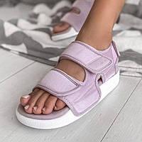 Зручні жіночі сандалі Adidas Adilette 3.0 пудрові   Літні відкриті тканинні босоніжки Адідас Адилет, фото 1