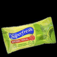 """Влажные салфетки SuperFresh """"Зеленый чай"""" 15шт"""