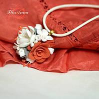 """""""Оранжевый блюз"""" колье/кулон с цветами из полимерной глины"""