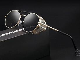Солнцезащитные очки в стиле стимпанк (арт. 66247) с золотистой оправой