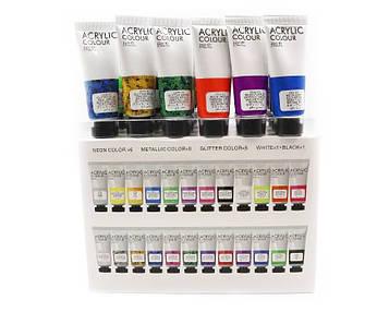 Акриловые краски художественные 36 цветов по 22мл в тюбиках (18баз+6глит+6мет+6неон)