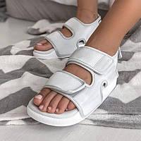 Зручні жіночі сандалі Adidas Adilette 3.0 сірі | Літні відкриті тканинні босоніжки Адідас Адилет
