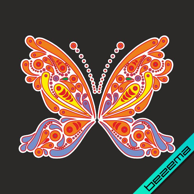 Термотрансфер на полупальто Бабочка [Свой размер и материалы в ассортименте]