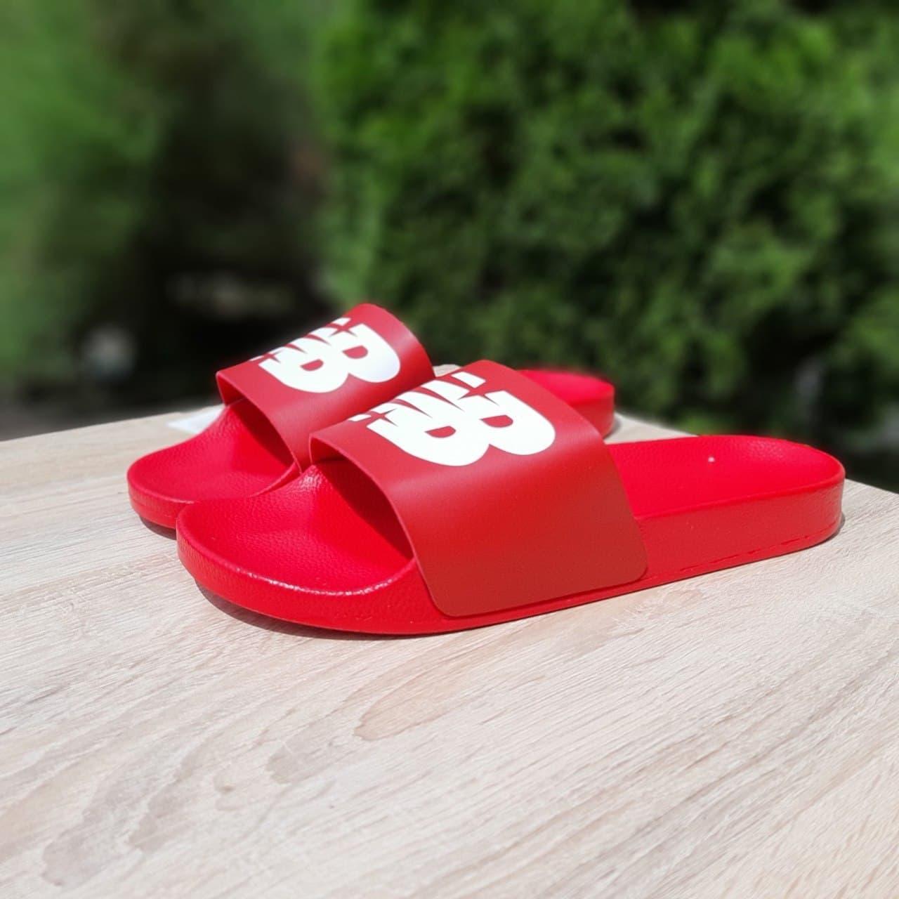 Жіночі шльопанці New balance (червоні з білим) О50012 молодіжні модні капці