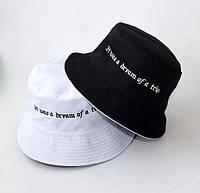 Стильная летняя женская панама черно-белая с надписью,Панама женская хлопковая,летние панамы