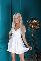 Женственный летний  комбинезон с пышной юбкой на тонких бретелях
