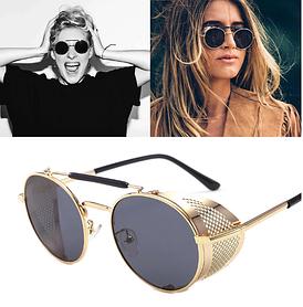 Солнцезащитные очки в стиле стимпанк (арт. 66247/1) с золотистой оправой