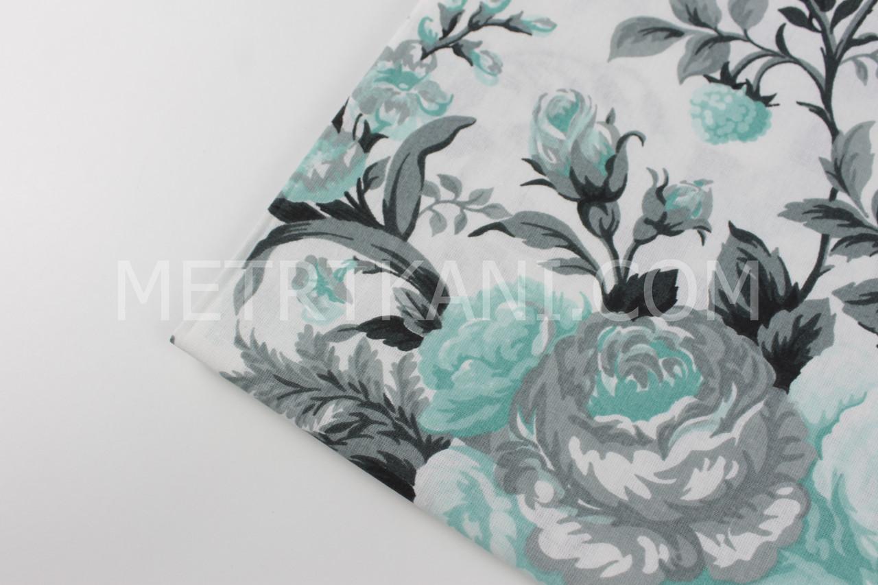 """Лоскуток. Ткань хлопковая  """"Букеты роз"""" мятно-серые на белом фоне, 45*160 см"""