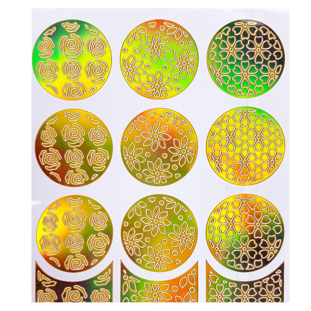 Трафарет для дизайна голограмма золото L-001