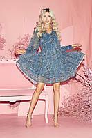 Нежное летнее платье из шифона с пышной юбкой и длинными  рукавами