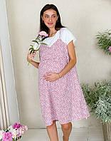 Женское платье-сарафан для беременных WOW MOM Белое с красными ягодами L (1_1012)