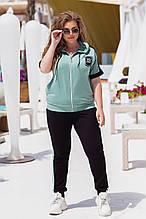 Летний спортивный костюм женский Турецкая двунитка Размер 50 52 54 56 58 60 62 64 В наличии 3 цвета