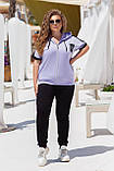 Літній спортивний костюм жіночий Турецька двунітка Розмір 50 52 54 56 58 60 62 64 В наявності 3 кольори, фото 7